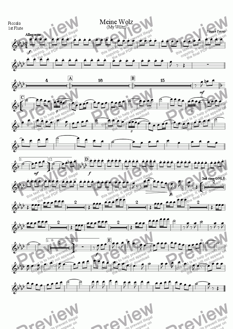 page one of the Piccolo 1st Flute part from Meine Wolz