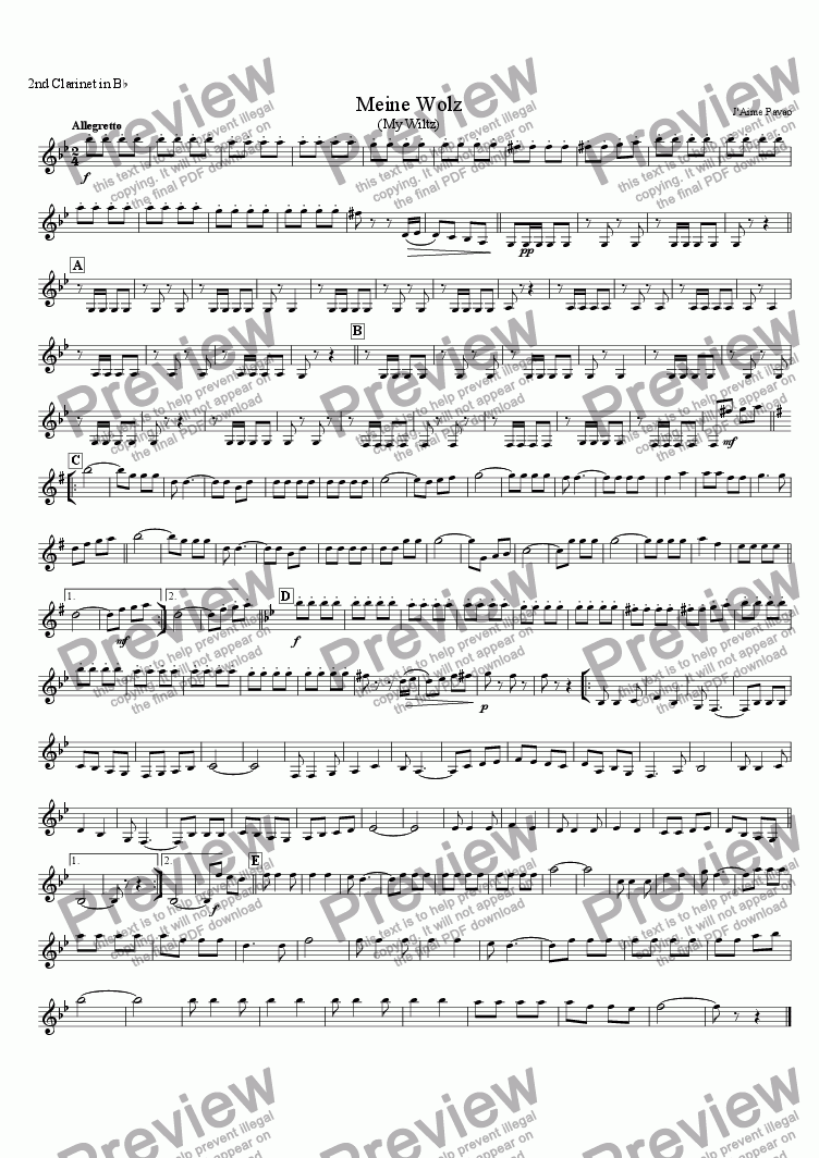 page one of the 2nd Clarinet in B^b part from Meine Wolz