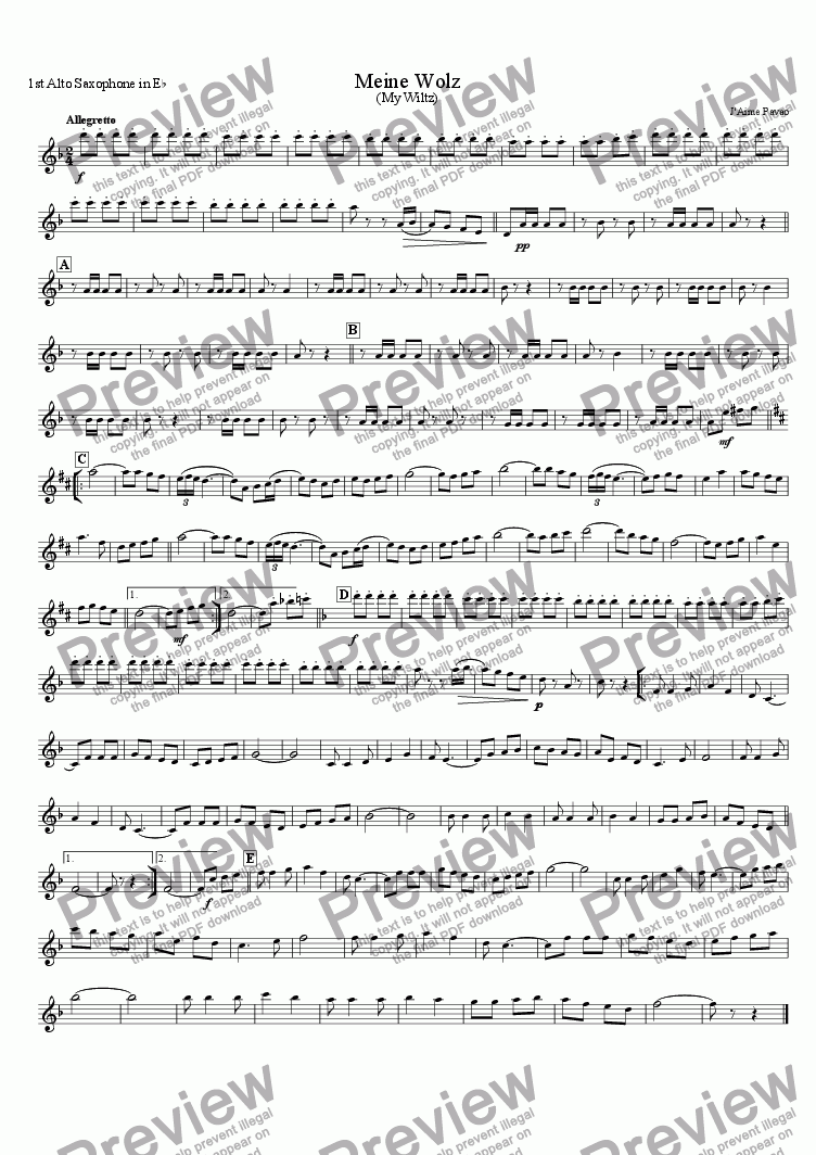 page one of the 1st Alto Saxophone in E^b part from Meine Wolz