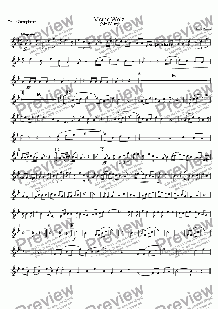 page one of the Tenor Saxophone part from Meine Wolz