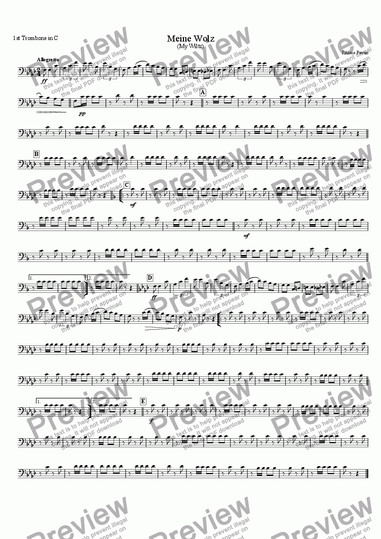 page one of the 1st Trombone in C part from Meine Wolz