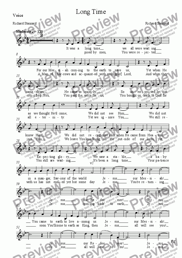 page one of the Voice part from Long Time