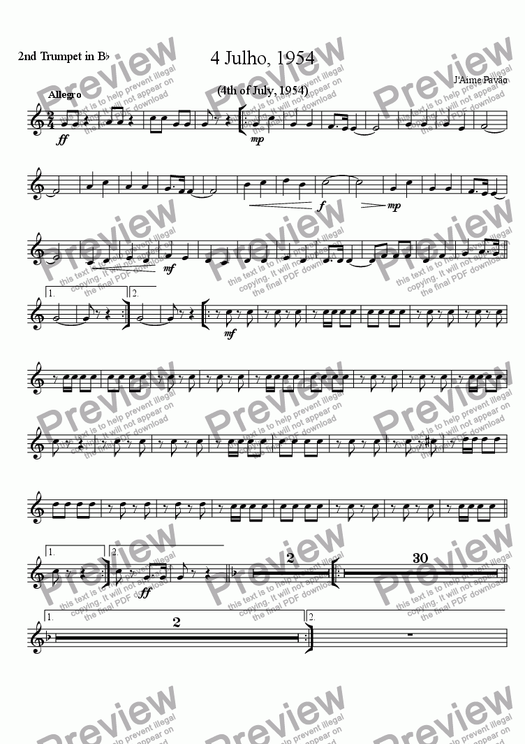 page one of the 2nd Trumpet in B^b part from 4 Julho, 1954