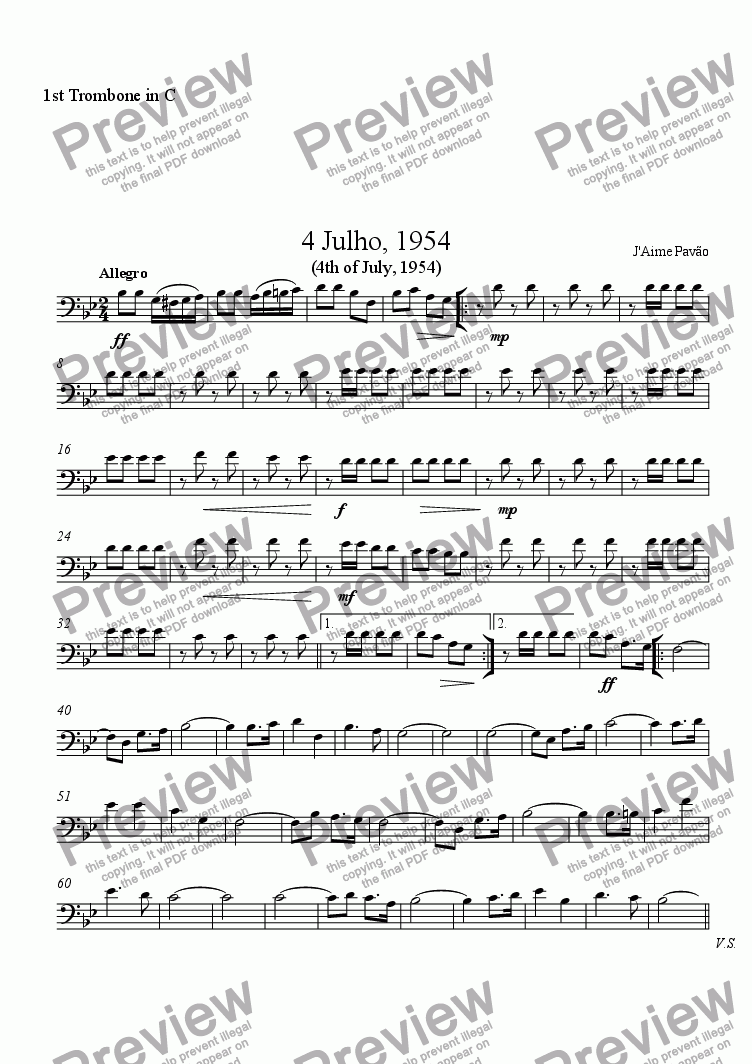 page one of the 1st Trombone in C part from 4 Julho, 1954