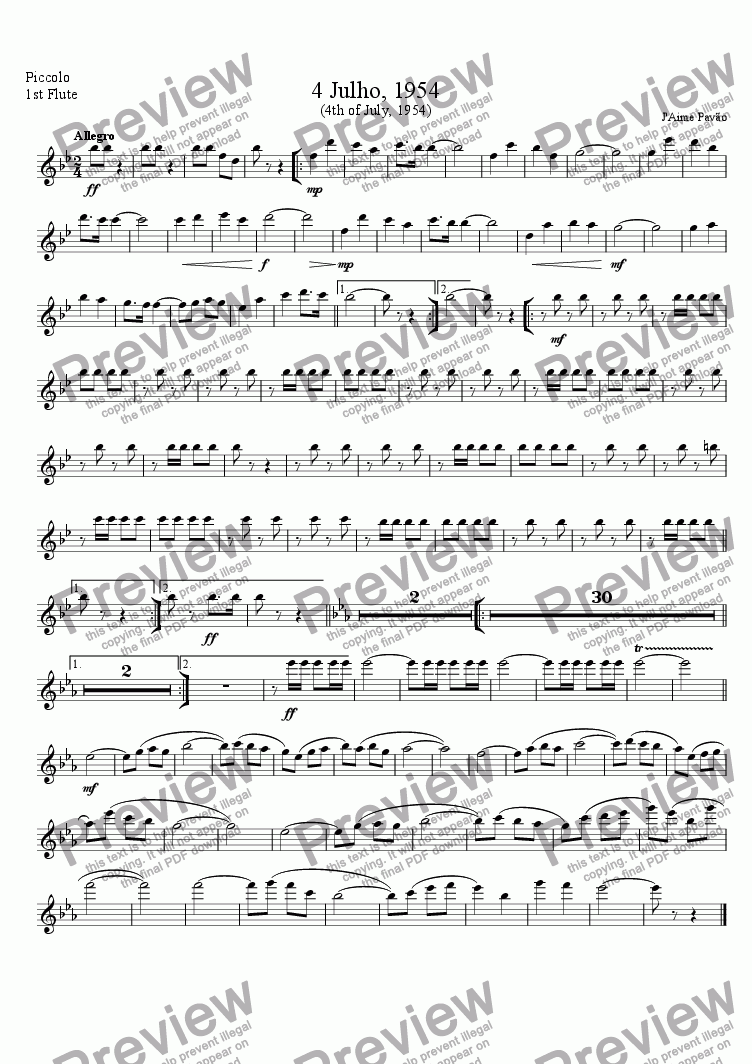 page one of the Piccolo 1st Flute part from 4 Julho, 1954