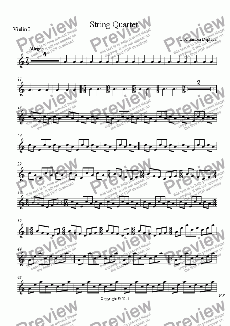 page one of the Violin I part from String Quartet