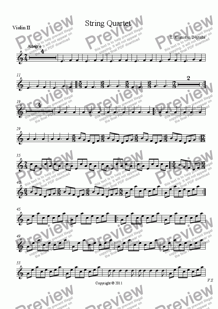 page one of the Violin II part from String Quartet