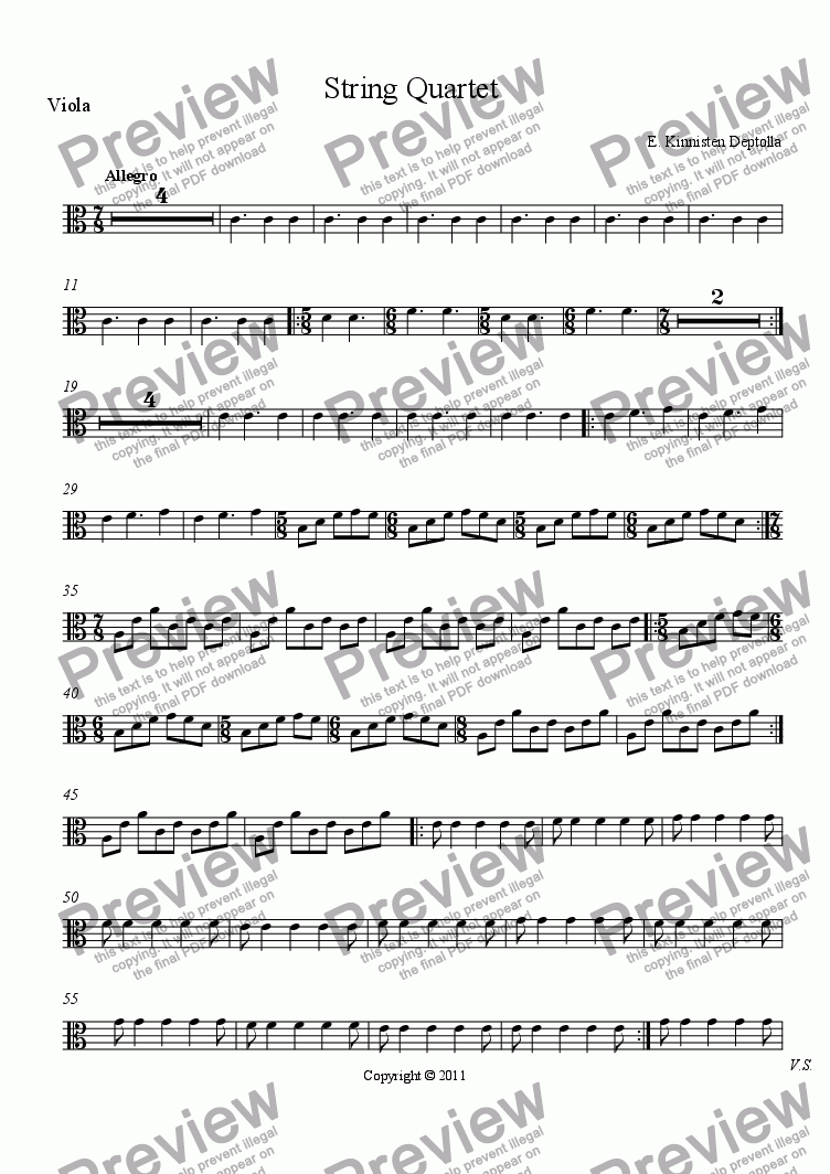 page one of the Viola part from String Quartet