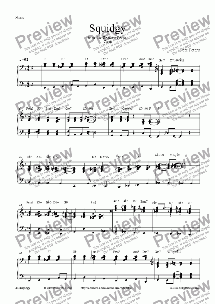 page one of the Piano part from Squidgy (JazzPiano)