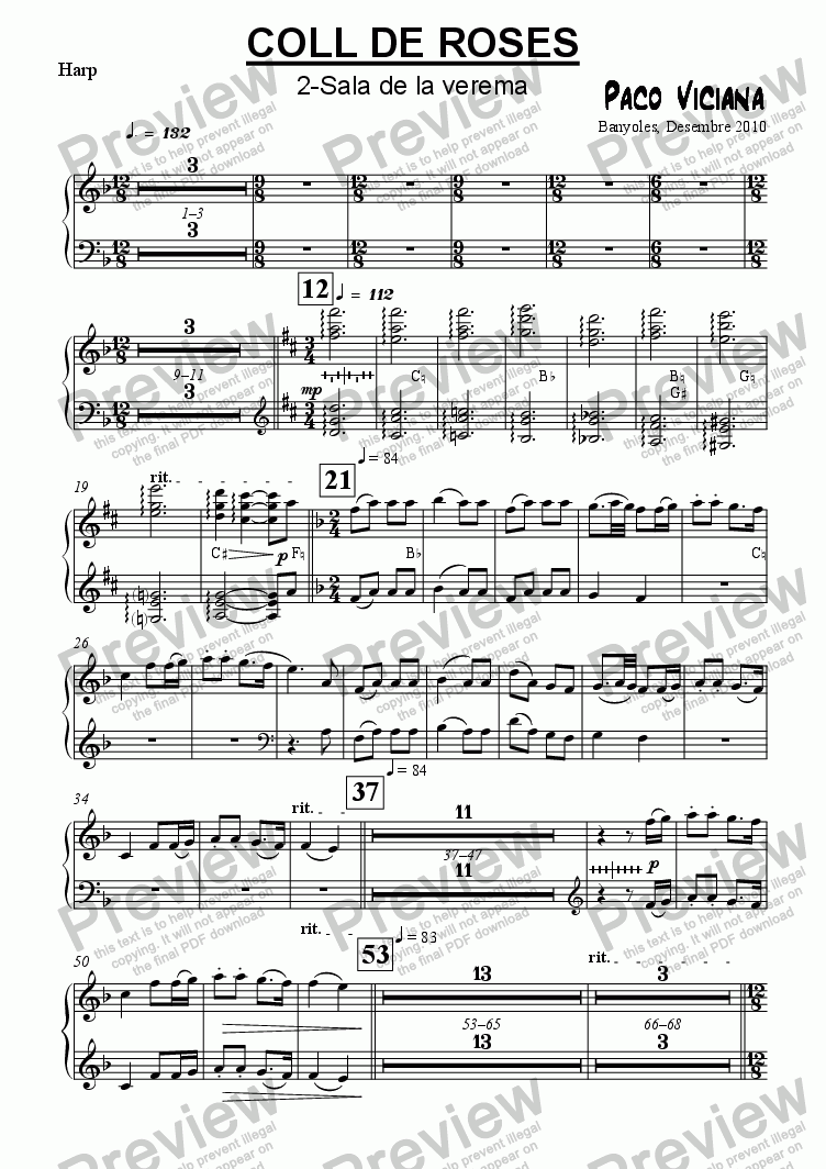 page one of the Harp part from 253-Coll de Roses (02-Sala de la verema)