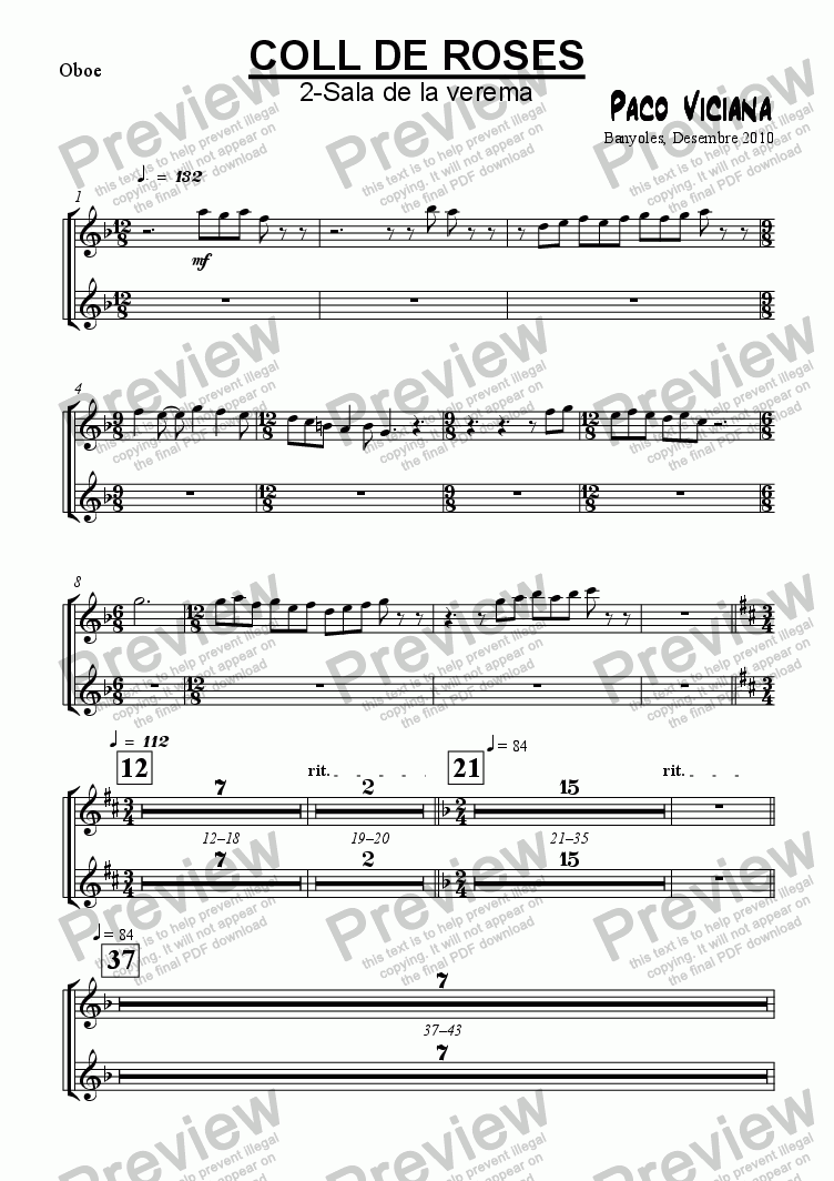 page one of the Oboe part from 253-Coll de Roses (02-Sala de la verema)