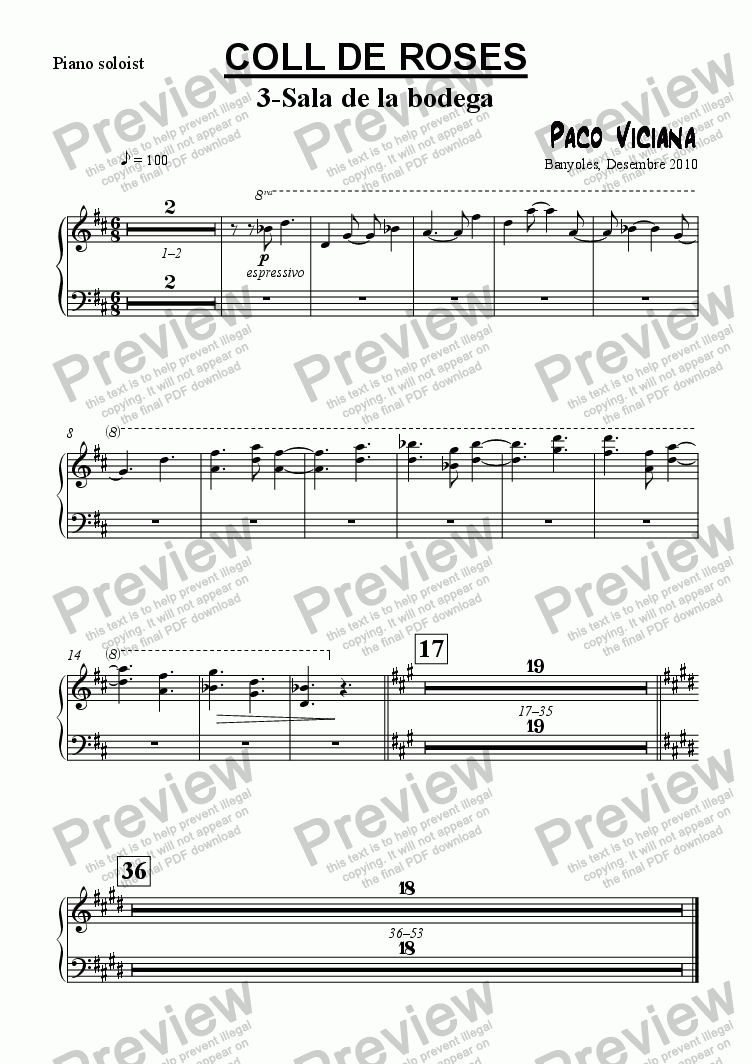 page one of the Piano soloist part from 253-Coll de Roses (03-Sala de la bodega)