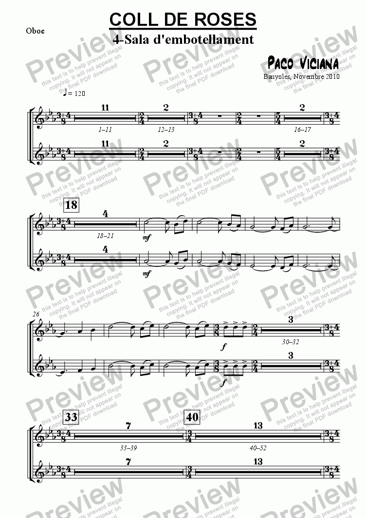 page one of the Oboe part from 253-Coll de Roses (04-Sala de l'embotellament)