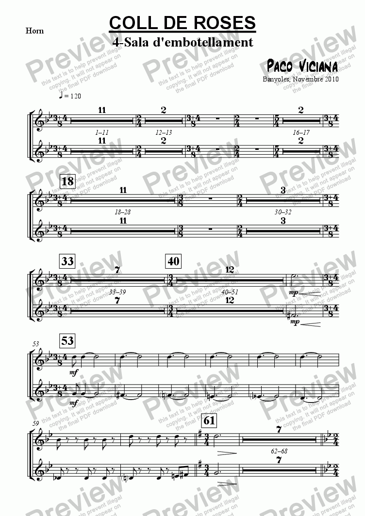 page one of the Horn part from 253-Coll de Roses (04-Sala de l'embotellament)