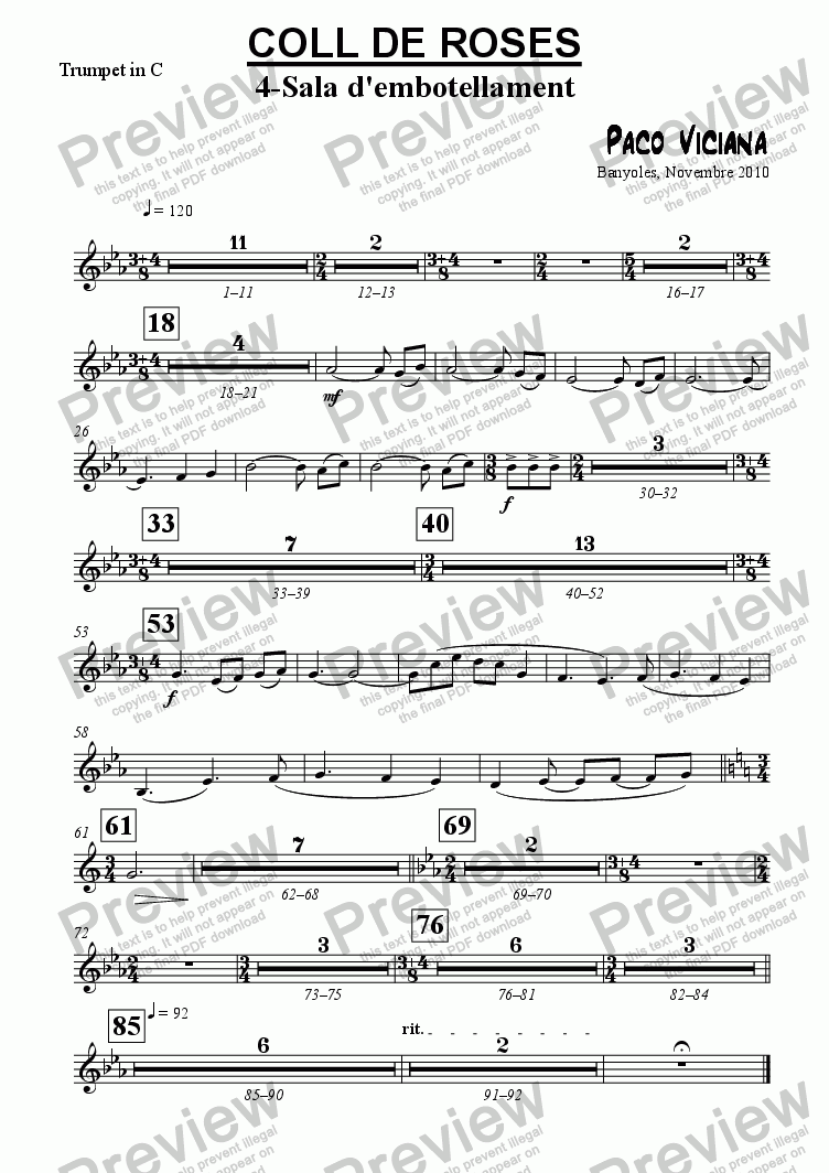 page one of the Trumpet in C part from 253-Coll de Roses (04-Sala de l'embotellament)