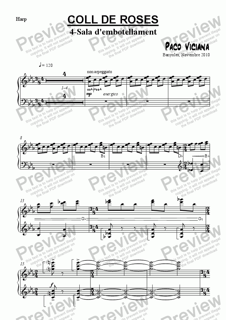 page one of the Harp part from 253-Coll de Roses (04-Sala de l'embotellament)