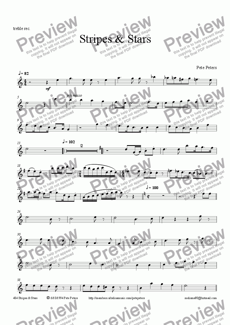page one of the Treble Recorder or FLute part from Stripes & Stars (duet + pno)