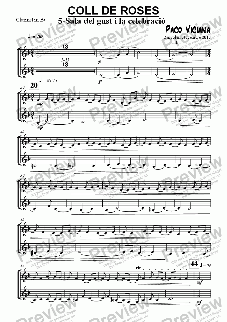 page one of the Clarinet in B^b part from 253-Coll de Roses (05-Sala del gust i la celebració)