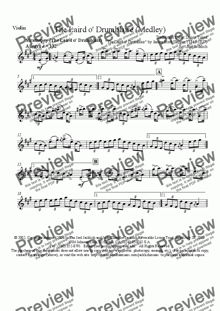 page one of the Violin Solo part from The Laird o' Drumblaire (Medley for Solo Violin with Guitar and String Bass Accompaniment)