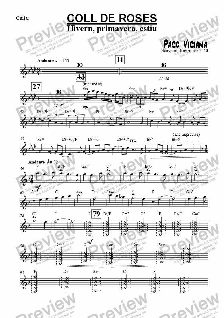 page one of the Guitar part from 253-Coll de Roses (Hivern, primavera, estiu)