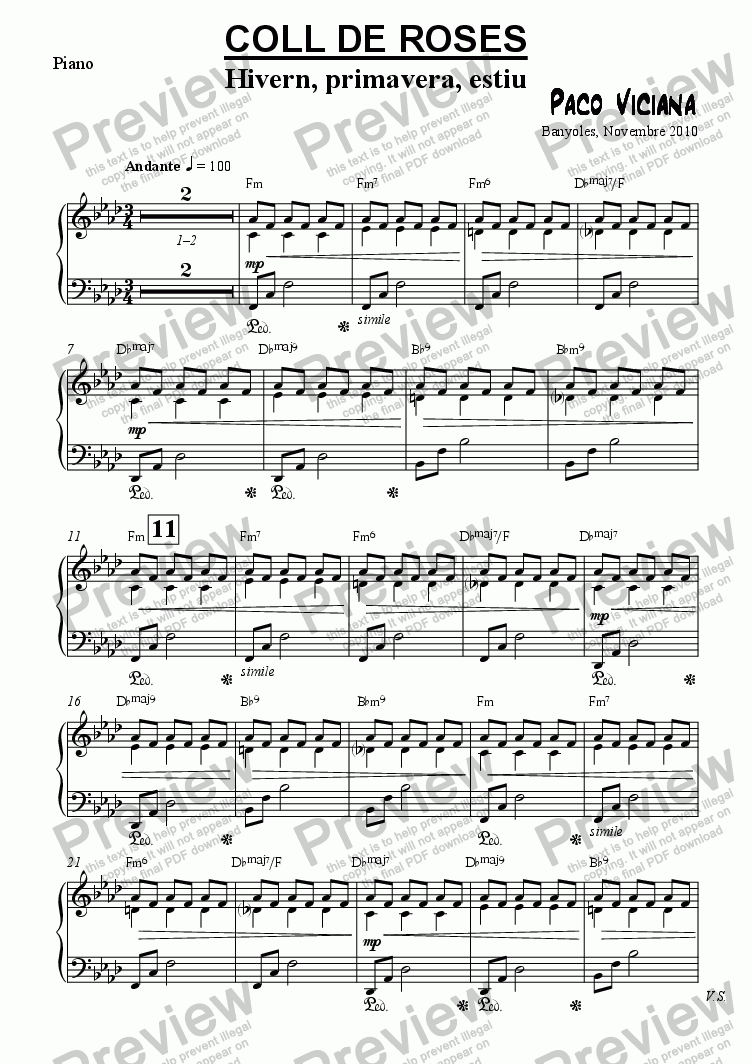 page one of the Piano part from 253-Coll de Roses (Hivern, primavera, estiu)