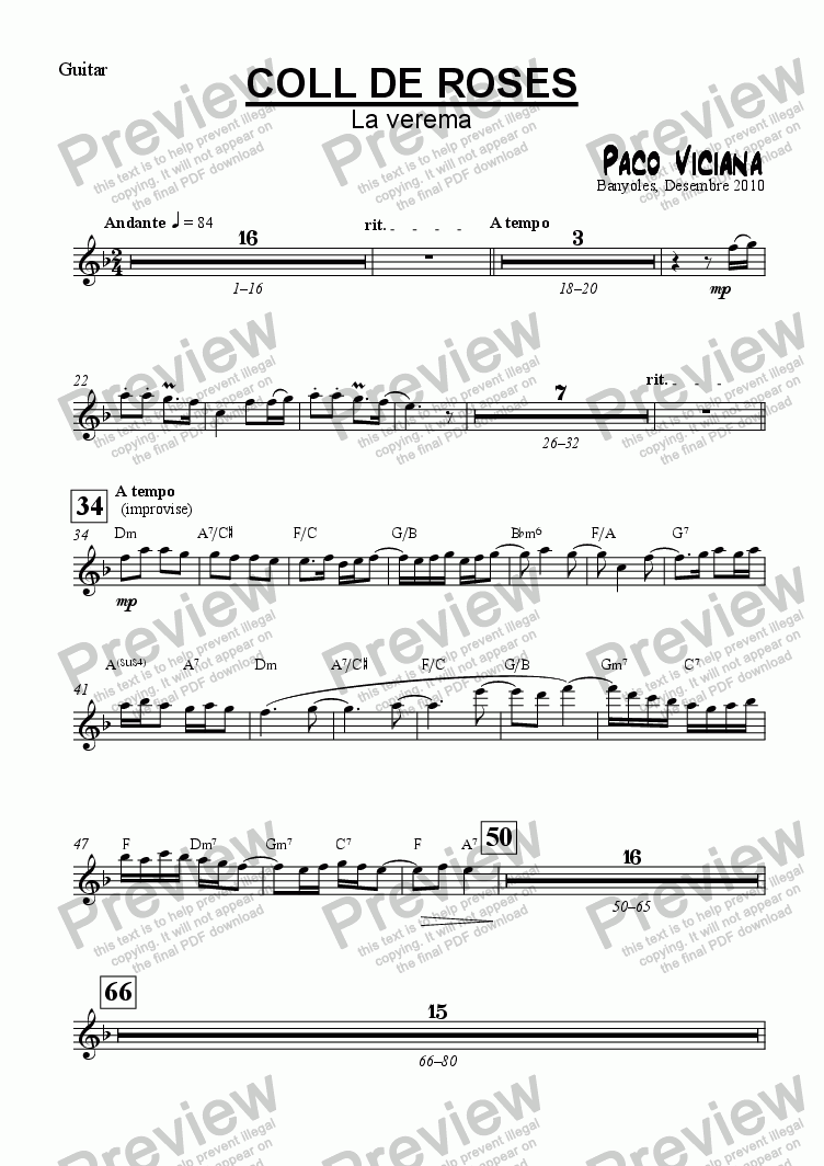 page one of the Guitar part from 253-Coll de Roses (La Verema)