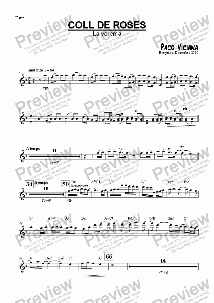 page one of the Flute part from 253-Coll de Roses (La Verema)