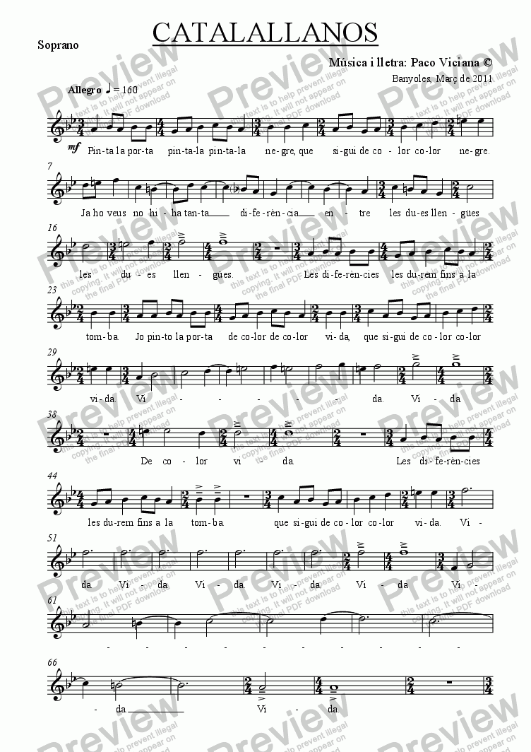 page one of the Soprano part from 254-Catalallanos