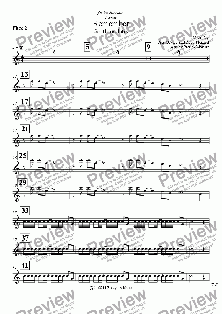 page one of the Flute 2 part from Remember