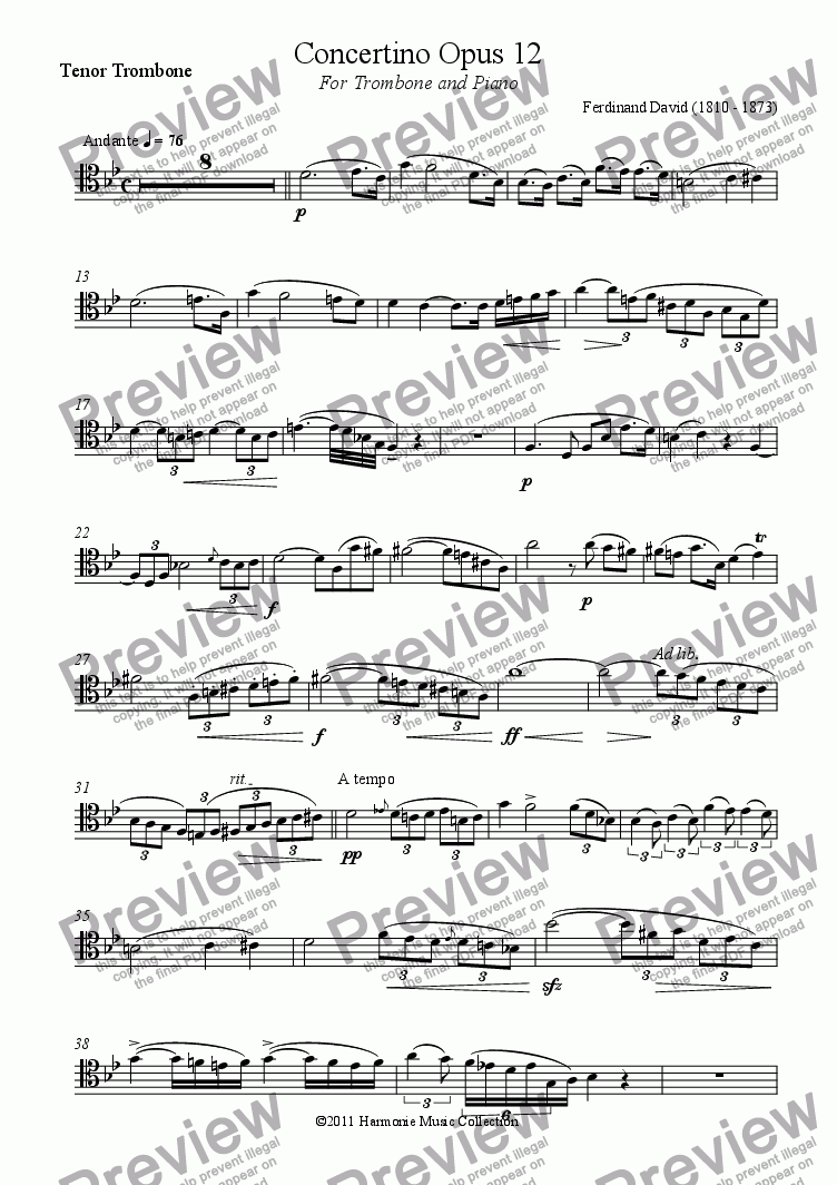 page one of the Tenor Trombone part from Concertino Opus 12
