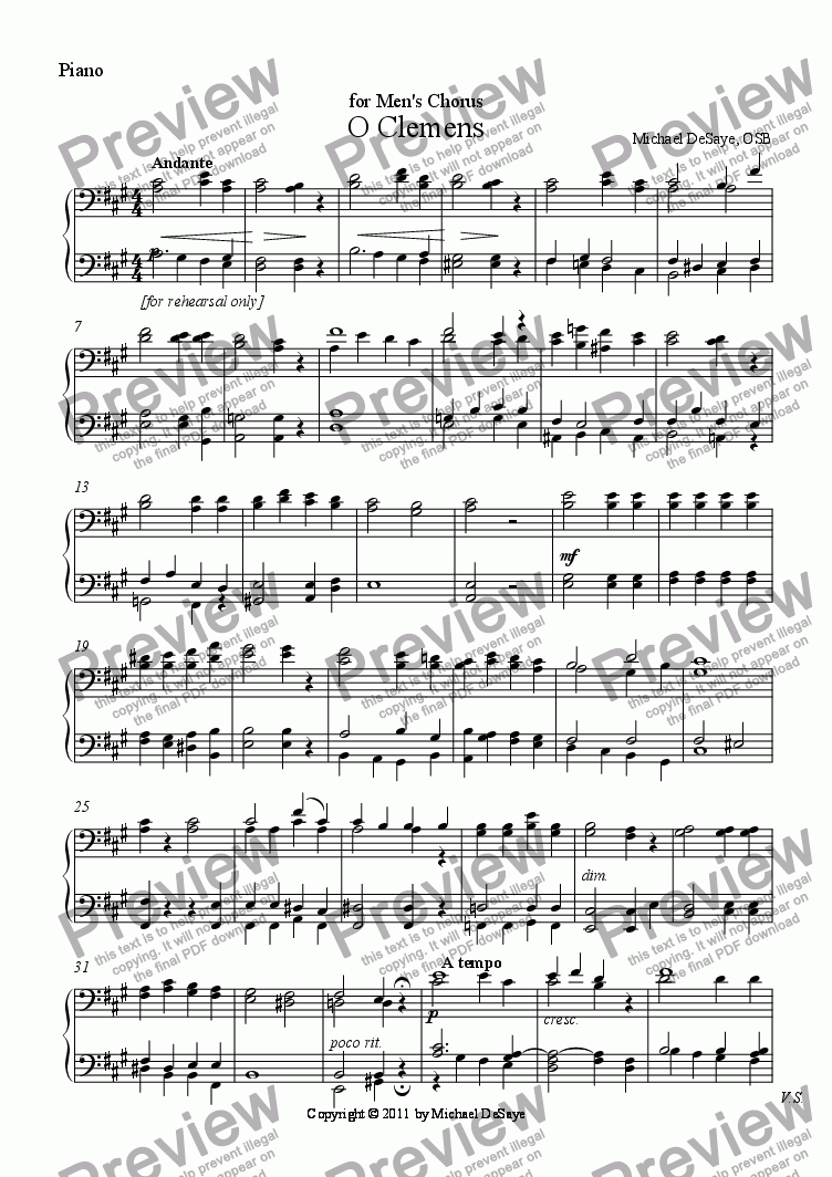 page one of the Piano part from O Clemens