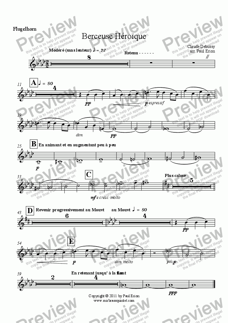 page one of the Flugelhorn part from Berceuse Héroïque