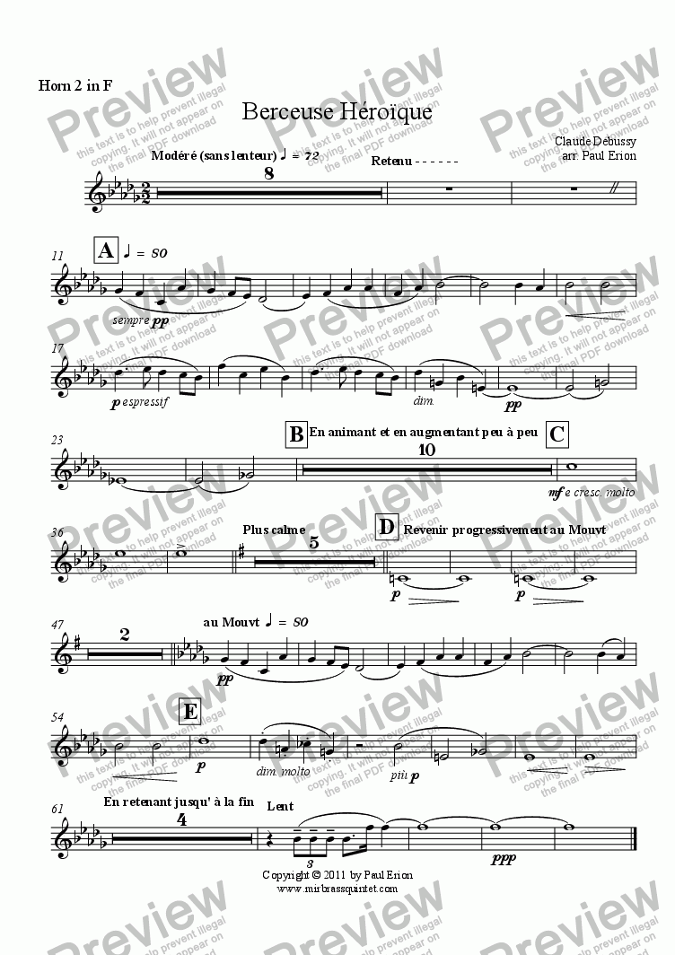 page one of the Horn 2 in F part from Berceuse Héroïque