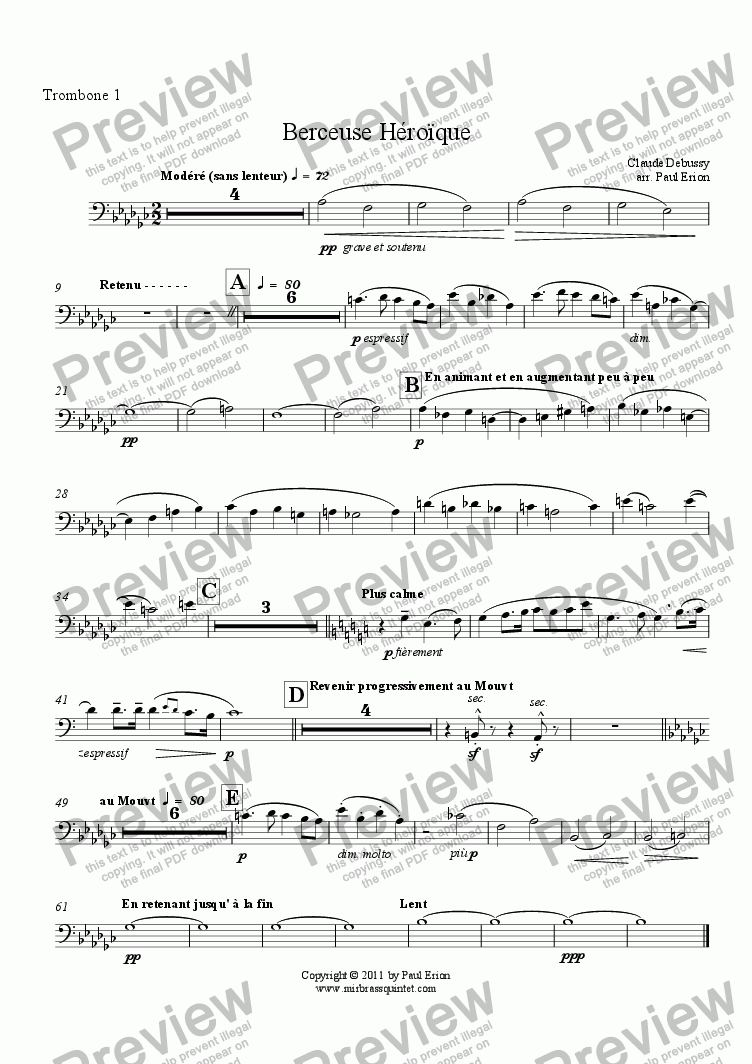 page one of the Trombone 1 part from Berceuse Héroïque