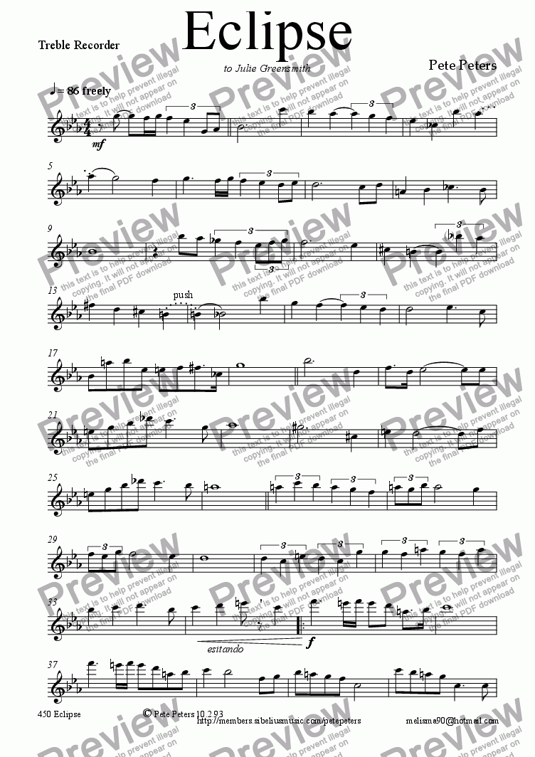 page one of the Treble Recorder part from Eclipse