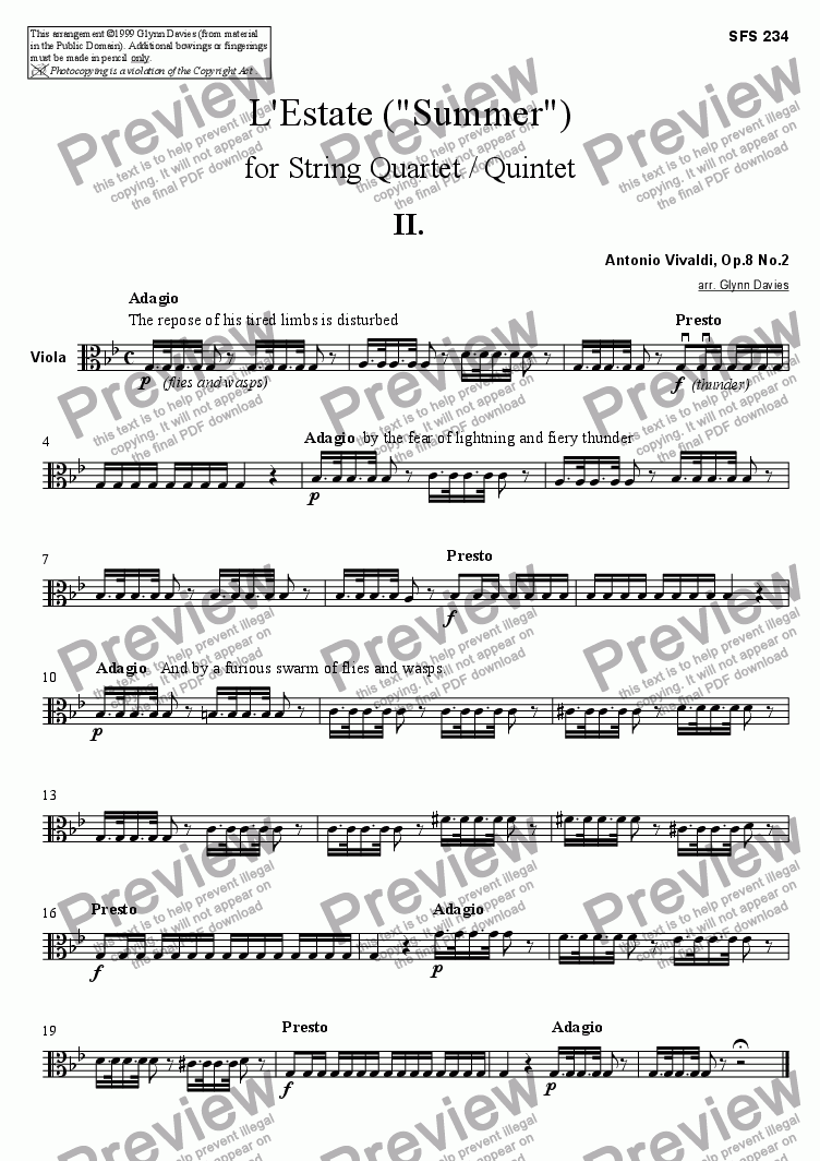 "page one of the Viola part from L'Estate (""Summer"") - 2. Adagio, Presto"