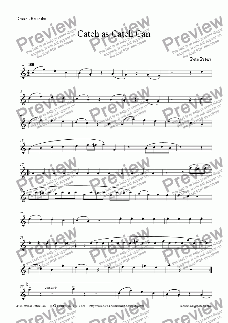 page one of the Flute or Descant Recorder part from Catch as Catch Can (Flute or Descant rec.)