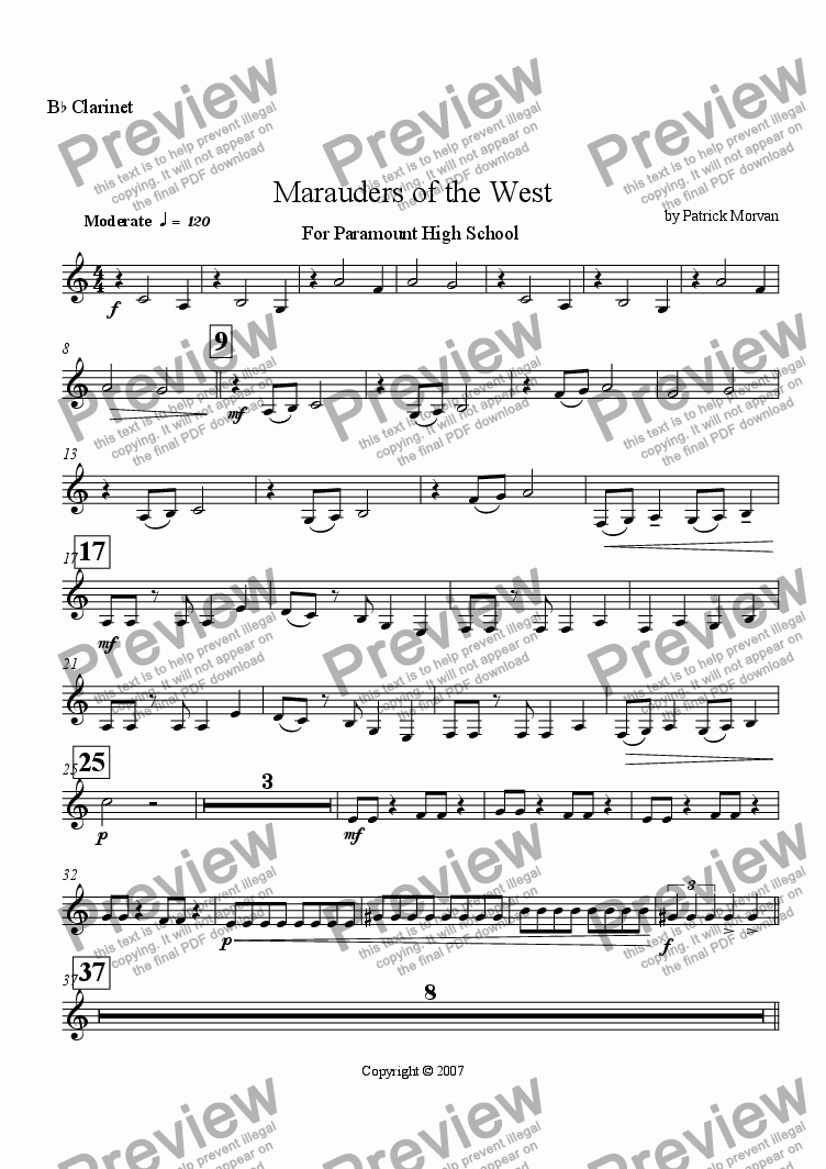 page one of the B^b Clarinet part from Marauders of the West