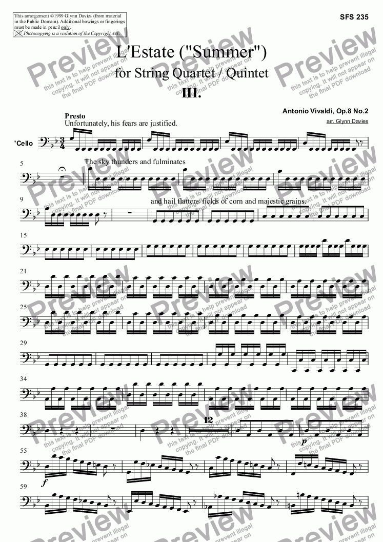 "page one of the Cello part from L'Estate (""Summer"") - 3. Presto"