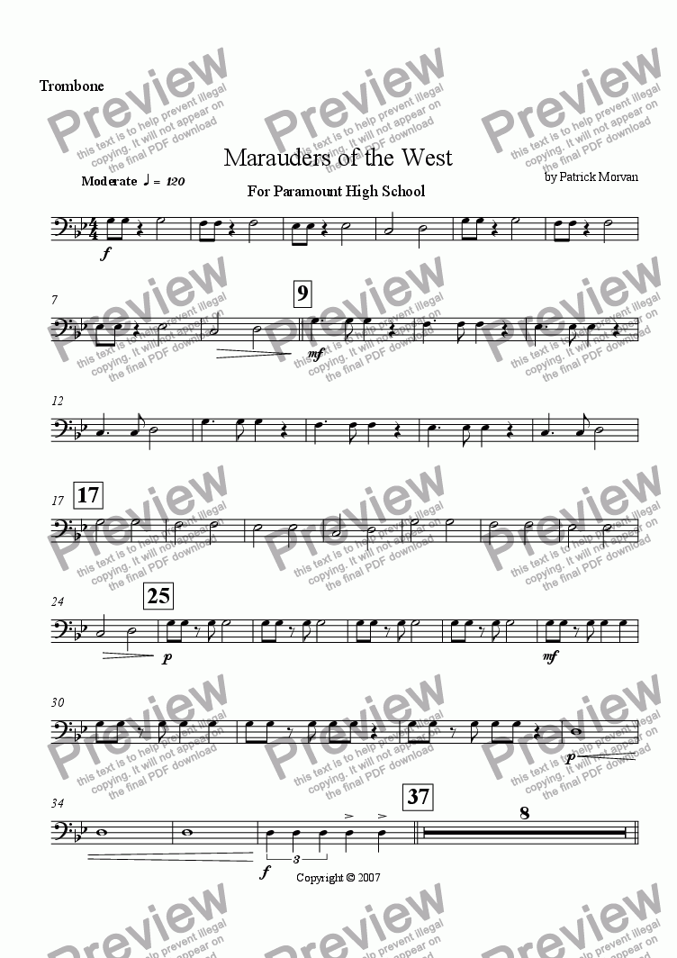 page one of the Trombone part from Marauders of the West