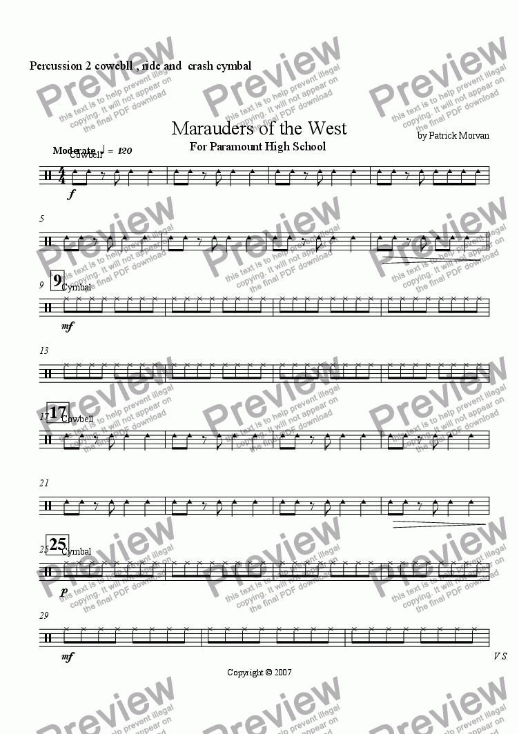page one of the Percussion 2 cowebll , ride and  crash cymbal part from Marauders of the West