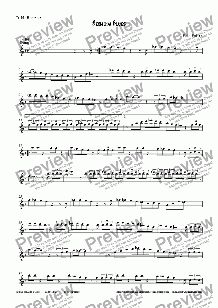 page one of the Treble Recorder part from Bermuda Blues [Jazz Rec or Flute]