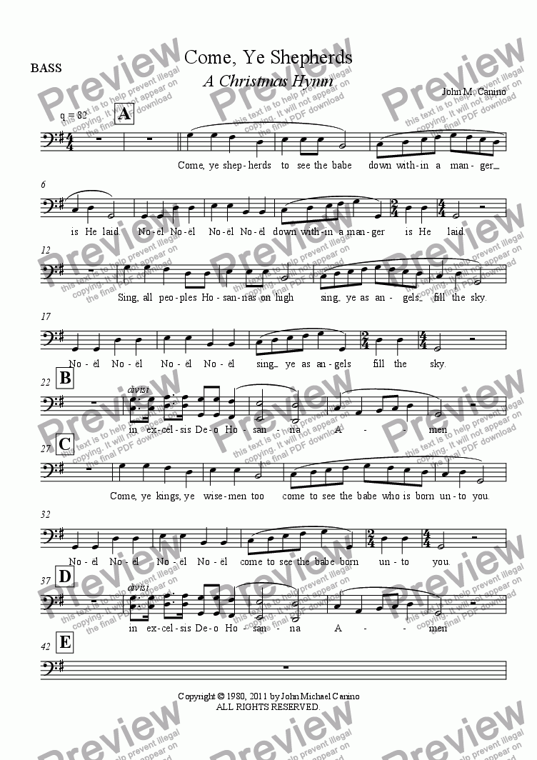page one of the BASS part from Come, Ye Shepherds A Christmas Hymn