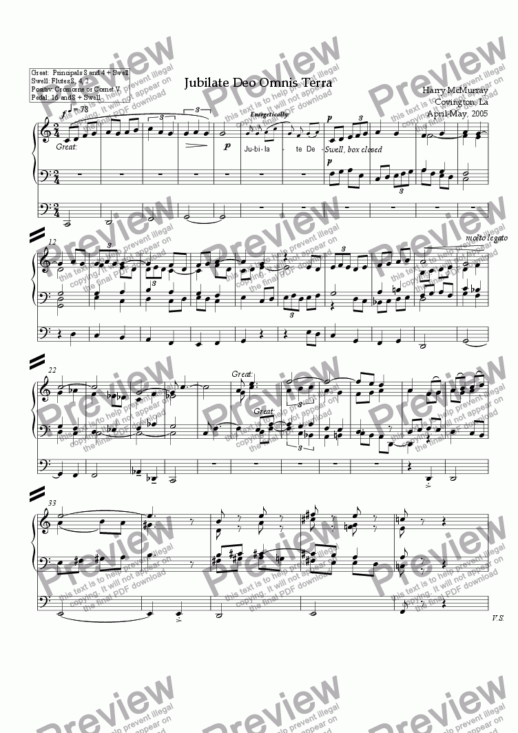 page one of the Organ part from Jubilate Deo Omnis Terra
