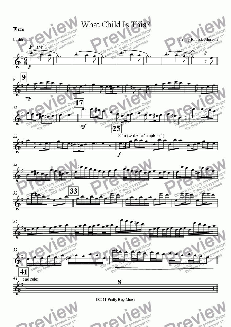 page one of the Flute part from What Child Is This?