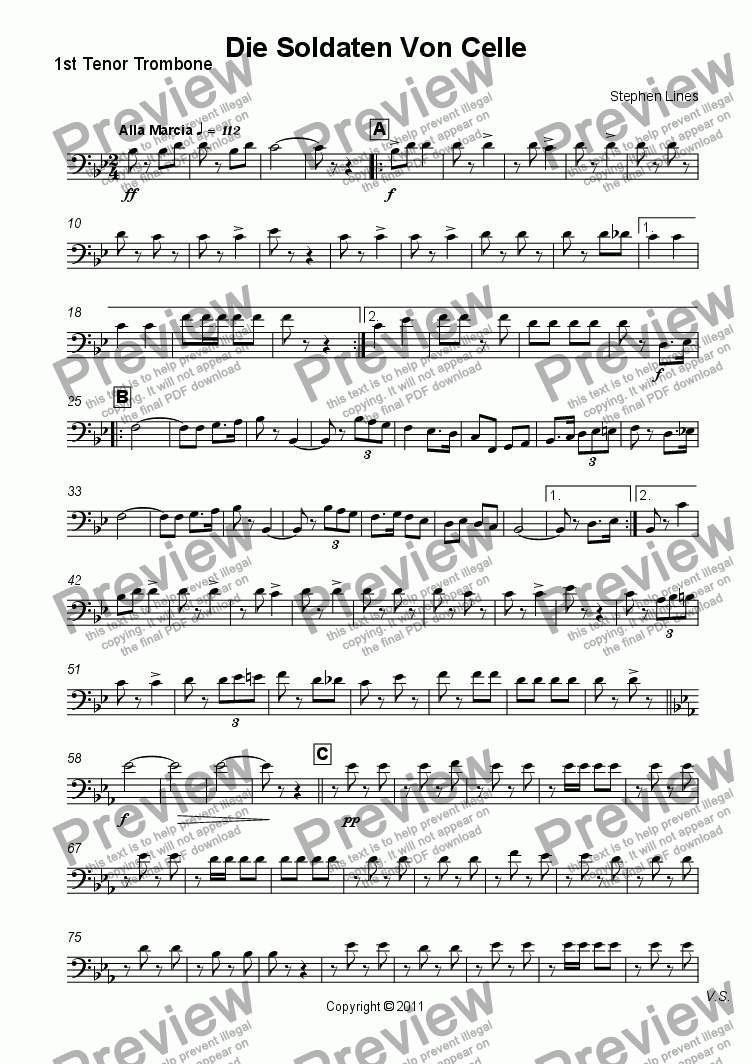 page one of the 1st Tenor Trombone part from Military Band: March - Die Soldaten Von Celle