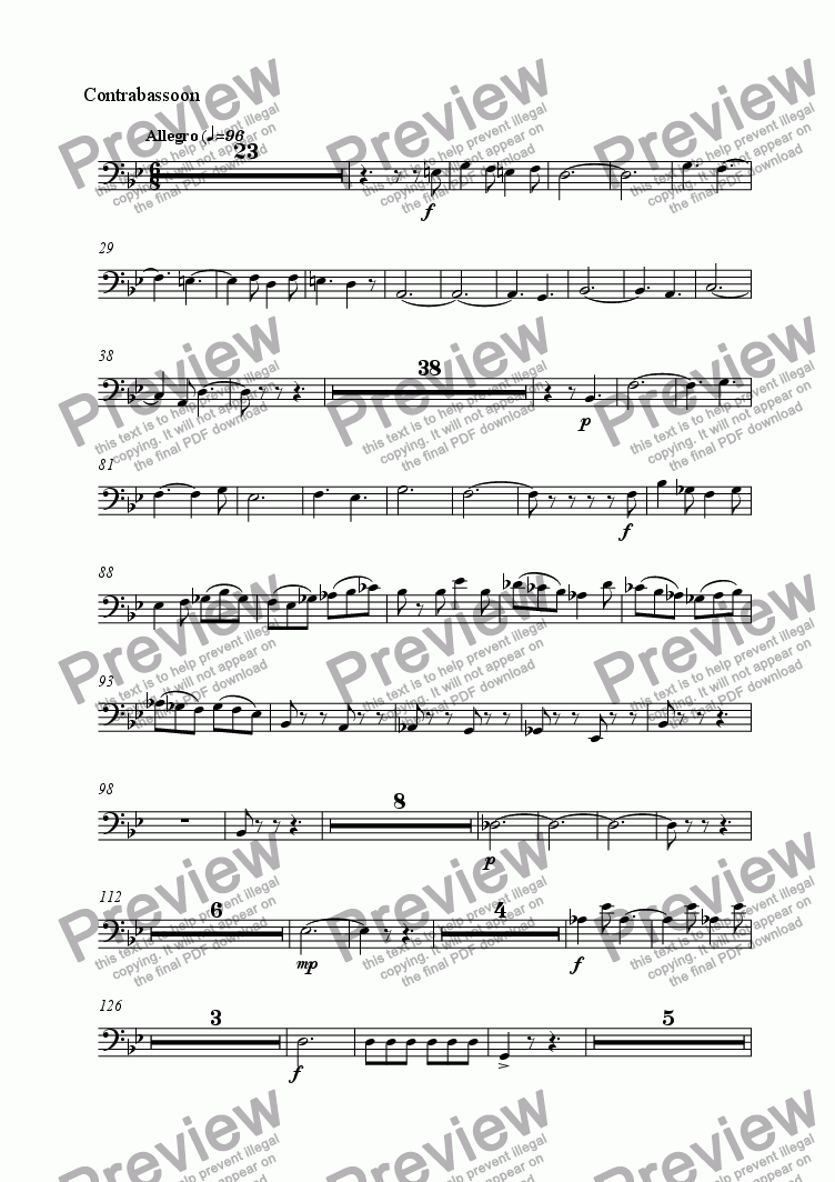 page one of the Contrabassoon part from Symphonie Gothique - III Allegro