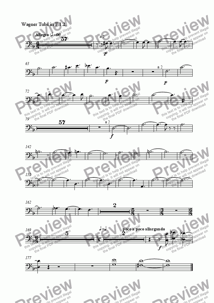 page one of the Wagner Tuba in F 1.2. part from Symphonie Gothique - III Allegro