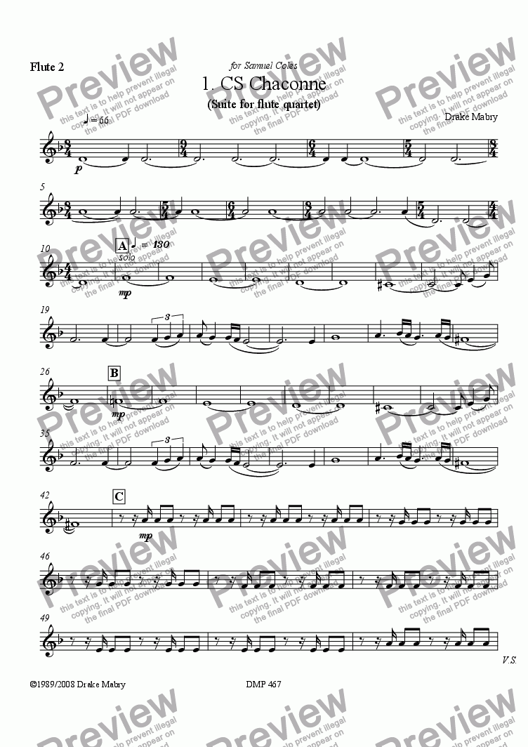 page one of the Flute 2 part from 1. CS Chaconne for flute quartet (3 Fl & A Fl)