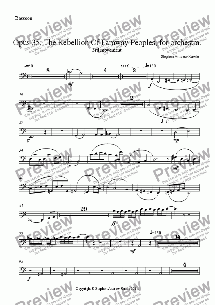 page one of the Bassoon part from Opus 35/3, The Rebellion Of Faraway Peoples.